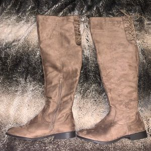 Brown Suede Knee-High Boots!